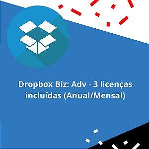Dropbox Biz: Adv - 3 licenças incluídas (Anual/Mensal)