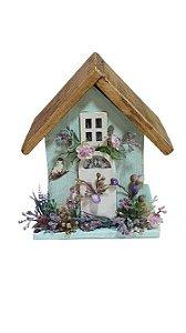 Casa de passarinho porta vela verde P