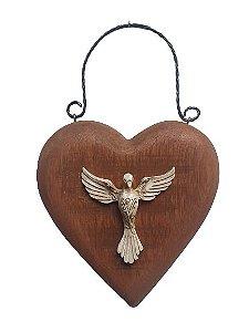 Coracao rustico em madeira com Espirito Santo em Resina