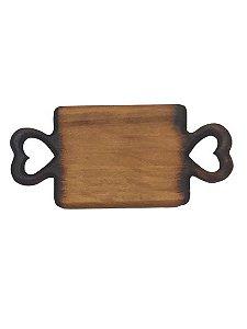 Tabua decor em madeira Coracao com acabamento queimado