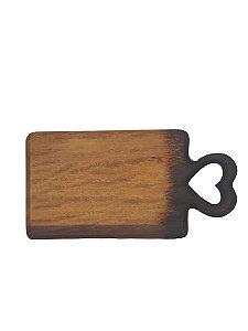 Tabua Coracao decor em madeira com acabamento queimado