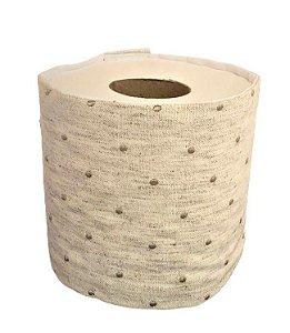 Porta Papel Higienico em Tecido Poa Bordado