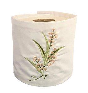 Porta Papel Higienico Velcro Branco em tecido bordado