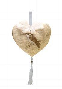Pingente Coracao de Linho Beija Flor Decor