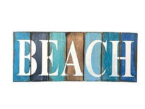 PLACA DECORATIVA BEACH EM MADEIRA DE BALI COM TONS DE AZUL