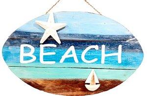 PLACA DECORATIVA BEACH COM BARCO EM MADEIRA DE BALI AZUL