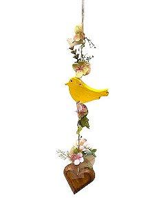 Mobili Decorativo com Passaro Amarelo Flores e Coracao