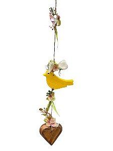 Mobili Decorativo com Passaro  Flores e Coracao Natural