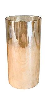VELA ELETRONICA PARAFINADA LED COM COPO DE VIDRO AMBAR12,5cm