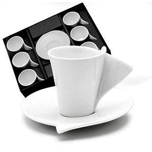 CJ 6 XICARAS P/ CAFE EM PORCELANA C/PIRES WOLFF LYON 65ml