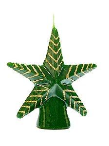 Vela estrela Verde e Dourado natalina