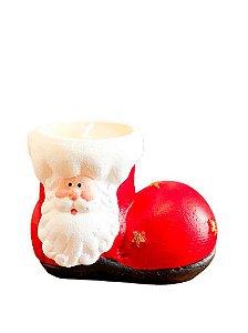 Vela Bota c/Rosto de Papai Noel Decorativa