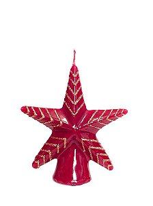 Vela estrela Vermelha e Dourado natalina