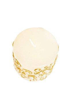Vela Cilindrica Branca e Dourada com Perolas P