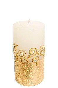 Vela Cilindrica Branca e Dourada com Perolas M