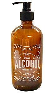PORTA ALCOOL EM GEL DE VIDRO AMBAR C/ PUMP PRETO 490ml