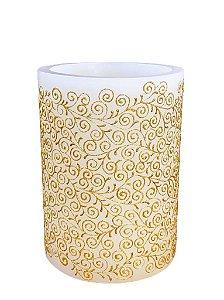 Vela Luminaria Cilindrica Branco e Dourado G