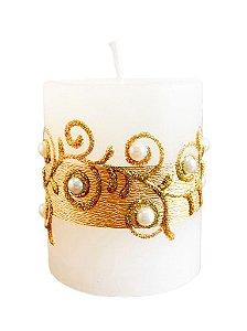 Vela Cilindrica Lisa Fina Dourada com Perola e Pedras