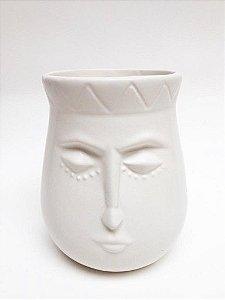 Vaso Ceramica Branco Rosto