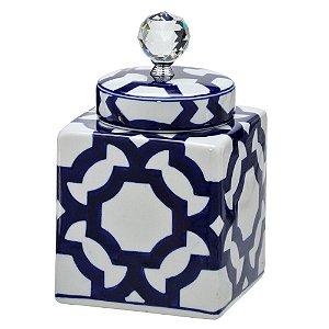 Potiche Azul em Porcelana e tampa com pingente em cristal