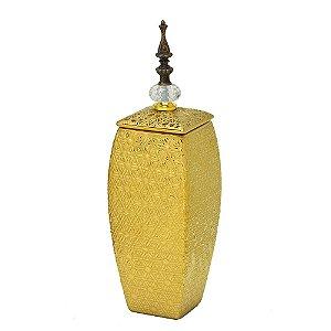 Potiche Dourado em Cerâmica e tampa com pingente em cristal