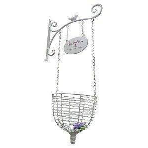 Cachepot com suporte com pássaro em metal Branco e Cesto