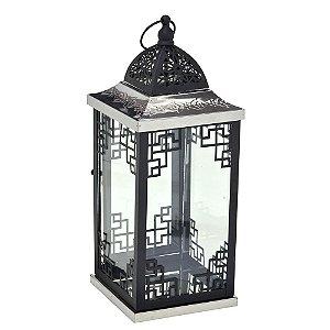 Lanterna Decorativa em Metal Preta e Prata