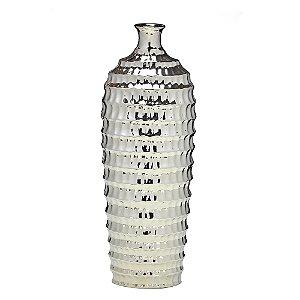 Vaso Garrafa em cerâmica prata