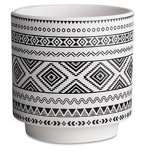 Cachepot branco em cerâmica com estampa étnica