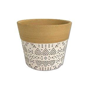 Cachepot Decorativo em cerâmica Dalya Branco e Dourado G