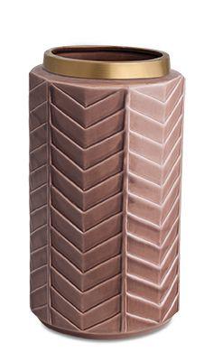 10314 - Vaso Ceramica Marsala e Dourado