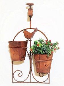 Floreira Metal 2 Vasos e Torneira