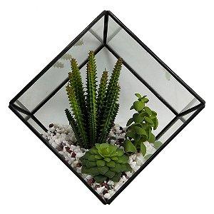 Terrario de vidro e metal preto com arranjo decorativo