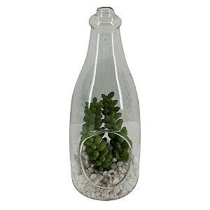 Terrario de vidro com arranjo de flores decorativo