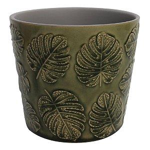 Cachepot em ceramica Costela de Adao Verde