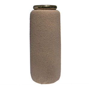 Vaso Decorativo Marrom e Dourado em Ceramica