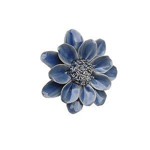 Peça decorativa de mesa em ceramica - Flor Azul