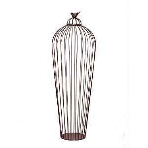 Vaso Decorativo de chao com Passaro em Ferro