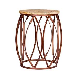 Mesa Stylus em madeira e ferro bronze com pintura eletrostatica