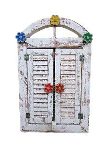 Janelinha com flores Coloridas em madeira com espelho