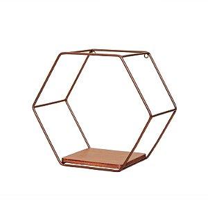Nicho em Ferro e Madeira Hexagonal
