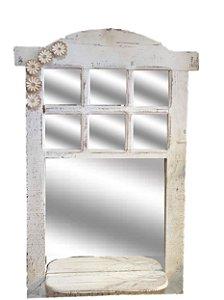 Janela Decorativa em madeira com espelho e prateleira