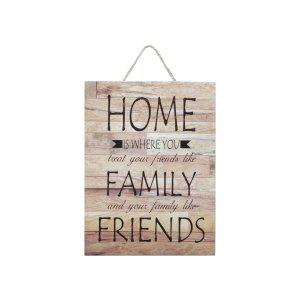 PLACA MADEIRA HOME, FAMILY AND FRIENDS BEGE