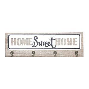 SUPORTE MADEIRA GANCHOS HOME SWEET HOME BEGE