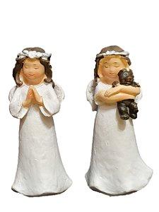 Dupla de Anjos Meninas Decorativas em Resina