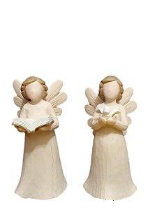 Dupla de Anjos Decorativos de Resina