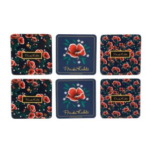 SET C/6 PCS PORTA COPOS CORTICA FK RED FLOWERS