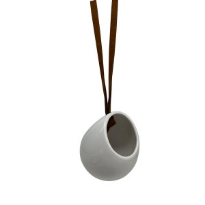 VASO PENDENTE CERAMICA COM ALÇA DE COURO  SIDE ONE LEATHER HANGING BRANCO