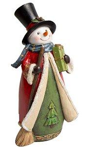 Enfeite Natalino Adornos Happy Pretties Boneco de Neve em Resina