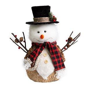 Boneco de Neve Cartola Moose Branco em Palha
